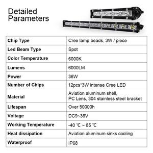 Image 3 - roadsun 7 13 inch Slim LED Light Bar Single Row 18W 36W 12V Daytime Running Light For SUV 4X4 Off Road LED Work Light Lamp