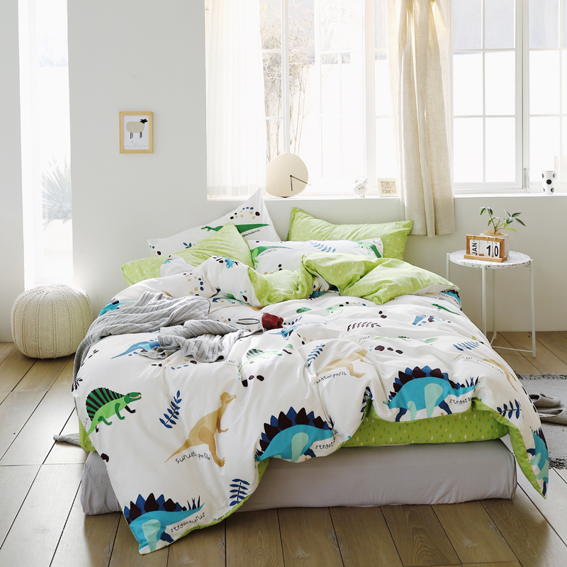 e66cdc30f9ddb New Spring and Autumn 100%cotton Cartoon dinosaur Print green Beding Sets  Twin Queen King. US  46.80. Modern simple style Black white circle bedding  set ...