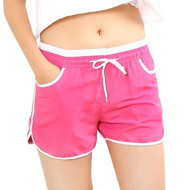 7 צבעים שרוך מותניים מכנסיים קצרים נשים הקיץ גבוהה מותן Loose תחתון מכנסיים סקיני כושר קיץ החוף מזדמן מכנסיים כיס