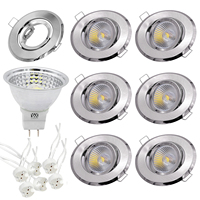 YWXLIGHT 6pcs 5W LED Light Cup MR16 GU5.3 COB Spotlight 500 lm Recessed Ceiling Light Mounting Frame Kit AC 110V AC 220V