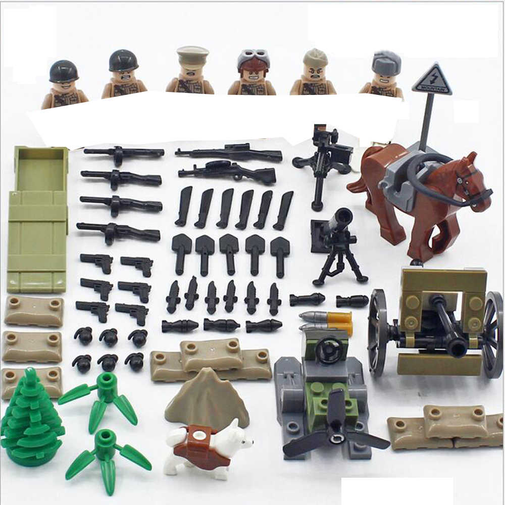 hot military World War II Soviet Army assault war MOC Building Blocks model mini weapon gun figures brick toys for children gift