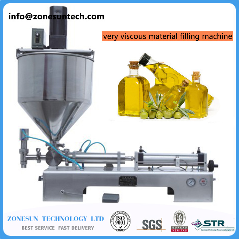 Mixing filler very viscous material filling machine, paste mixing filler,  mixing filling machine 500-2500ml rotary valve stainless paste filling machine parts ss304 paste filling passage hopper adopter cylinder filler
