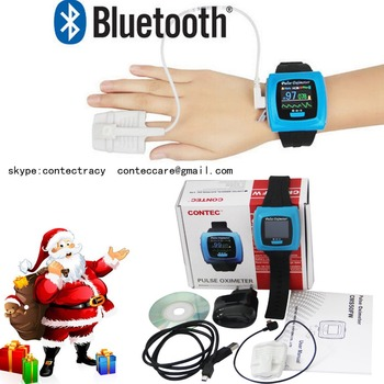 FDA CE Wrist Watch Finger Pulse Digital Oximeter,Bluetooth Wireless,alarm,CONTEC