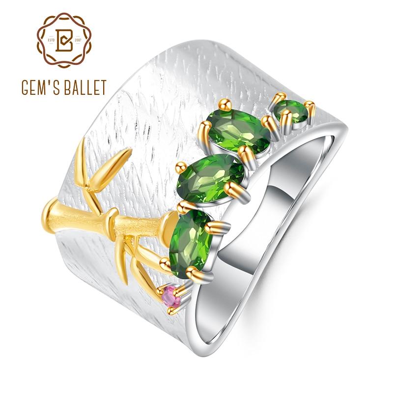 GEM S BALLET Natural Chrome Diopside Gemstone Ring 925 Sterling Silver Handmade Bamboo Finger Rings for
