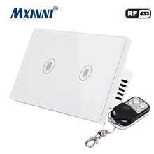MXAVNI US Standard Remote Control Switch,2 Gang 1 Way ,RF433 Smart Wall Switch, Wireless remote control touch light switch
