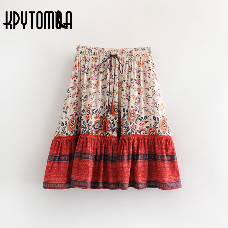 Boho Vintage Floral Print Pleated Mini Skirt Women 2018 New Fashion High Elastic Waist Lace Up Tassel Skirts Casual Faldas Mujer