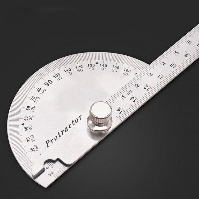14.5 سنتيمتر 180 درجة قابل للتعديل منقلة متعددة الوظائف الفولاذ المقاوم للصدأ roundhead زاوية حاكم الرياضيات أداة قياس