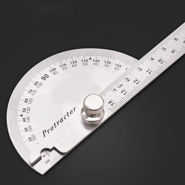 14.5cm 180 graus ajustável transferidor multifunções de aço inoxidável ângulo de cabeça redonda régua ferramenta medição matemática