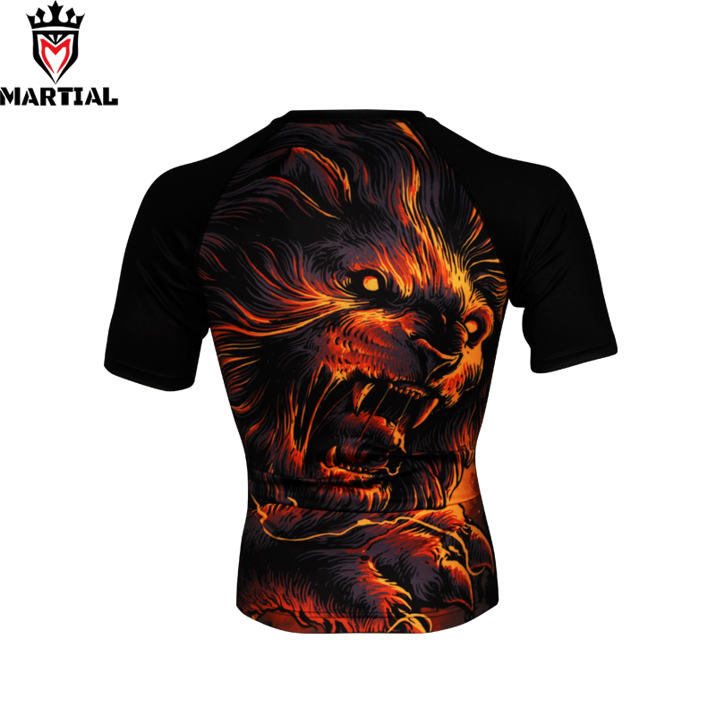 Martial:NEW ARRIVAL Hear me roar mma rashguards shirt man gym compression grappling combat shirts