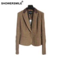 SHOWERSMILE Ladies Blazers British Style Womens Tweed Jacket Herringbone Woolen Vintage Coffee Spring Women Blazers And