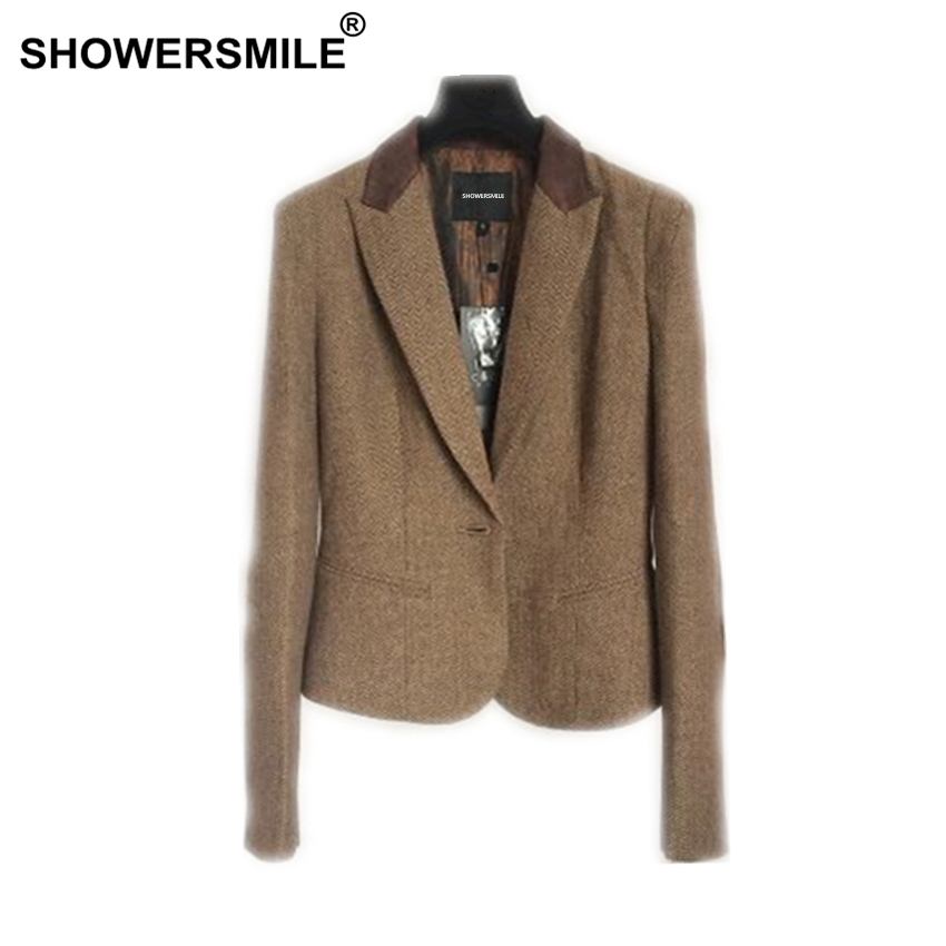 SHOWERSMILE Ladies Blazers British Style Womens Tweed Jacket Herringbone Woolen Vintage Coffee Spring Women Blazers And Jackets