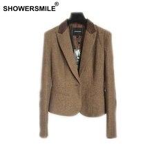 SHOWERSMILE Ladies Blazers British Style Womens Tweed Jacket Herringbone Woolen Vintage Coffee Spring Women And Jackets