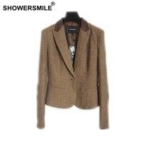 SHOWERSMILE Ladies Blazers British Style Womens Tweed Jacket Herringbone Woolen Vintage Coffee Spring Women Blazers And Jackets