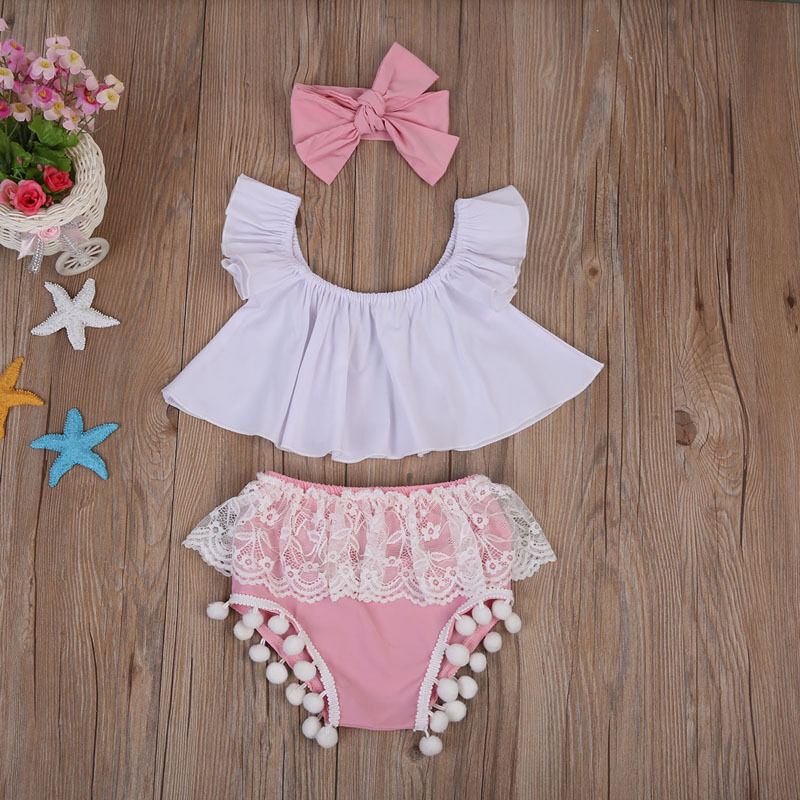 CANIS Brand Toddler Baby Girls Ruffle Tops+Lace Patchwork Tassel Shorts+Solid Color Headband 3Pcs Outfits Set Clothes Hot Sale