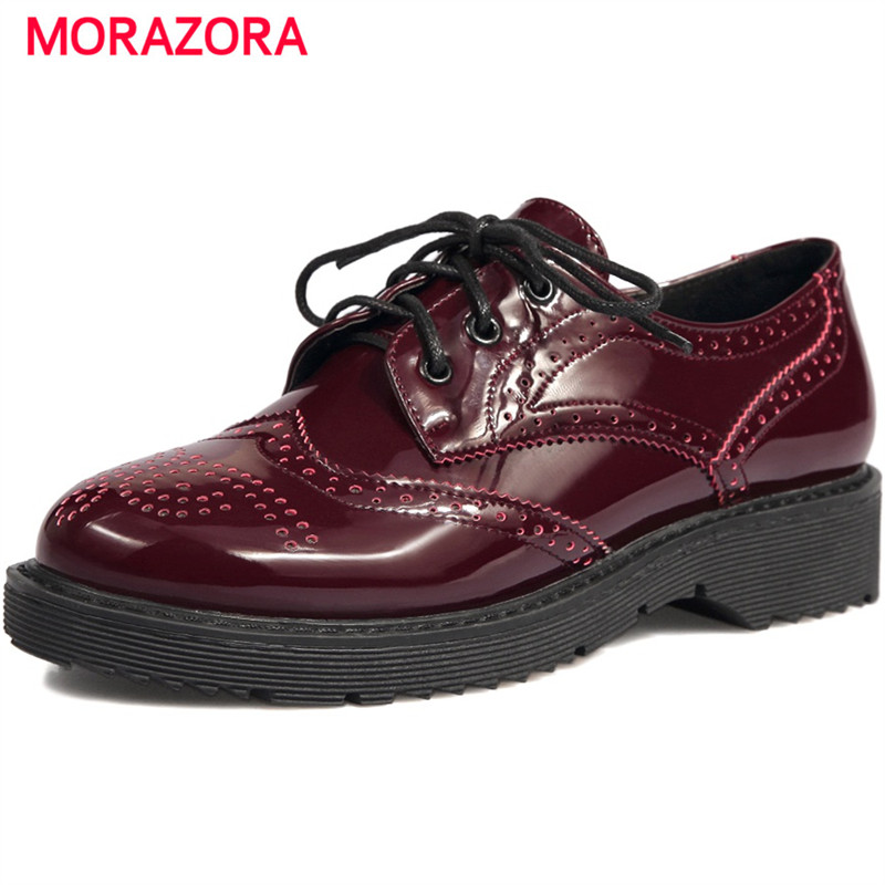 MORAZORA Brogue pumps shoes women lace-up solid round toe shoes platform shoes big size 34-43 fashion retro oxford shoes bonjomarisa new arrivals 2016 solid plain round toe lace up sporting thick platform pumps women fashion cassual shoes women