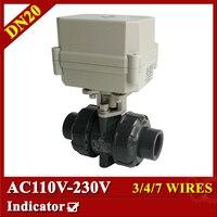 3 4 AC110 230V Plastic Ball Valve 7 Wires CR704 Electric Ball Valve DN20 UPVC Ball