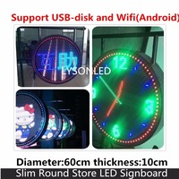 LYSONLED 60cm Diameter 7.88mm Pixel Pitch Outdoor IP65 SMD3535 Full Color Slim Round Store LED Signboard ,Support WIFI Wireless