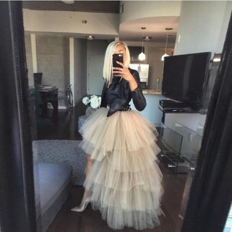 Fashion Hi Low Tiered Tulle Skirts Women Ruffle Extra Puffy Zipper Waistline Long Party Skirts Custom Made