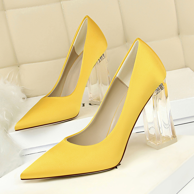 New Pointed Toe Transparent Block High Heels Stain Yellow Pumps Escarpins Women  Fall 2018 Spring Elegant Lady Office Party Shoes 56479bcfe25d