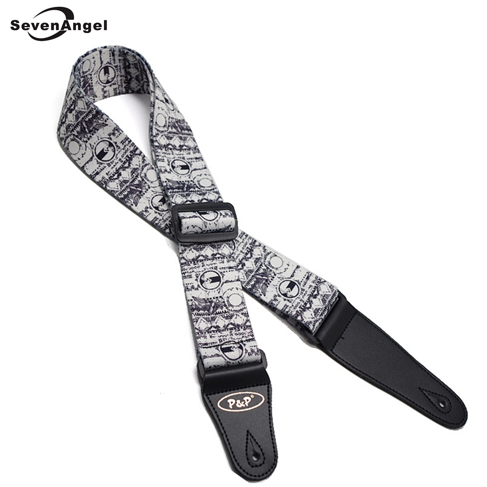 Acoustic Guitar Straps Riverside Scene at Qingming Festival Pattern Classic Folk Electric Bass Guitar Strap Belt Leather Ends zebra cool skull electric guitar belt polyester acoustic folk guitar classic guitar strap for electric acoustic guitar bass