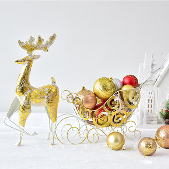 Christmas Nordic Wine Holder Candy Racks Wrought Iron Reindeer Sled Car Deer Cart New Year Table Decorations For Home Navidad