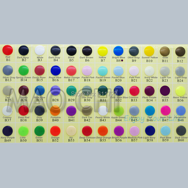 1000 Sets KAM Brand 60 Colors Available  Mixed T5 20 12mm Luster Grossy Plastic Snap Buttons Press Button 50sets Per Bag