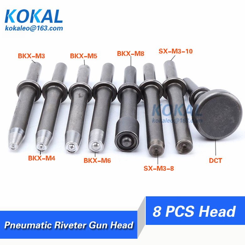 Free Shipping Pneumatic riveter head for solid rivet and semi tubular rivet air stapler punches and