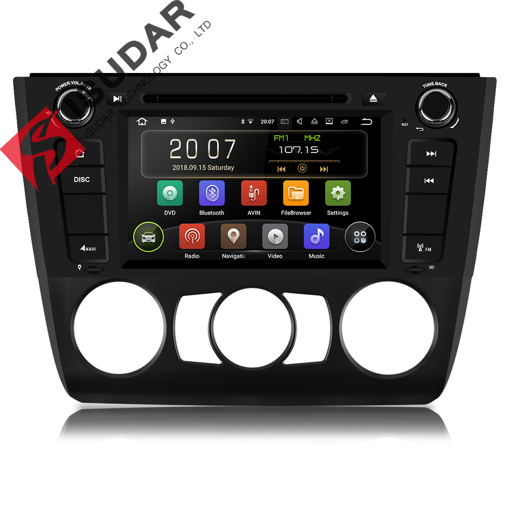 Isudar 1 Din Auto Lettore Multimediale Android 8.1 Lettore DVD Per BMW/120i 1 Serie E81/E82/ e88 GPS 4 Core RAM 2 GB ROM 16 GB Radio FM