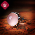 Natural semi-precious stones high-end 925 Sterling Silver Rose Quartz Bangkok Thai handmade rings female section pink crystal