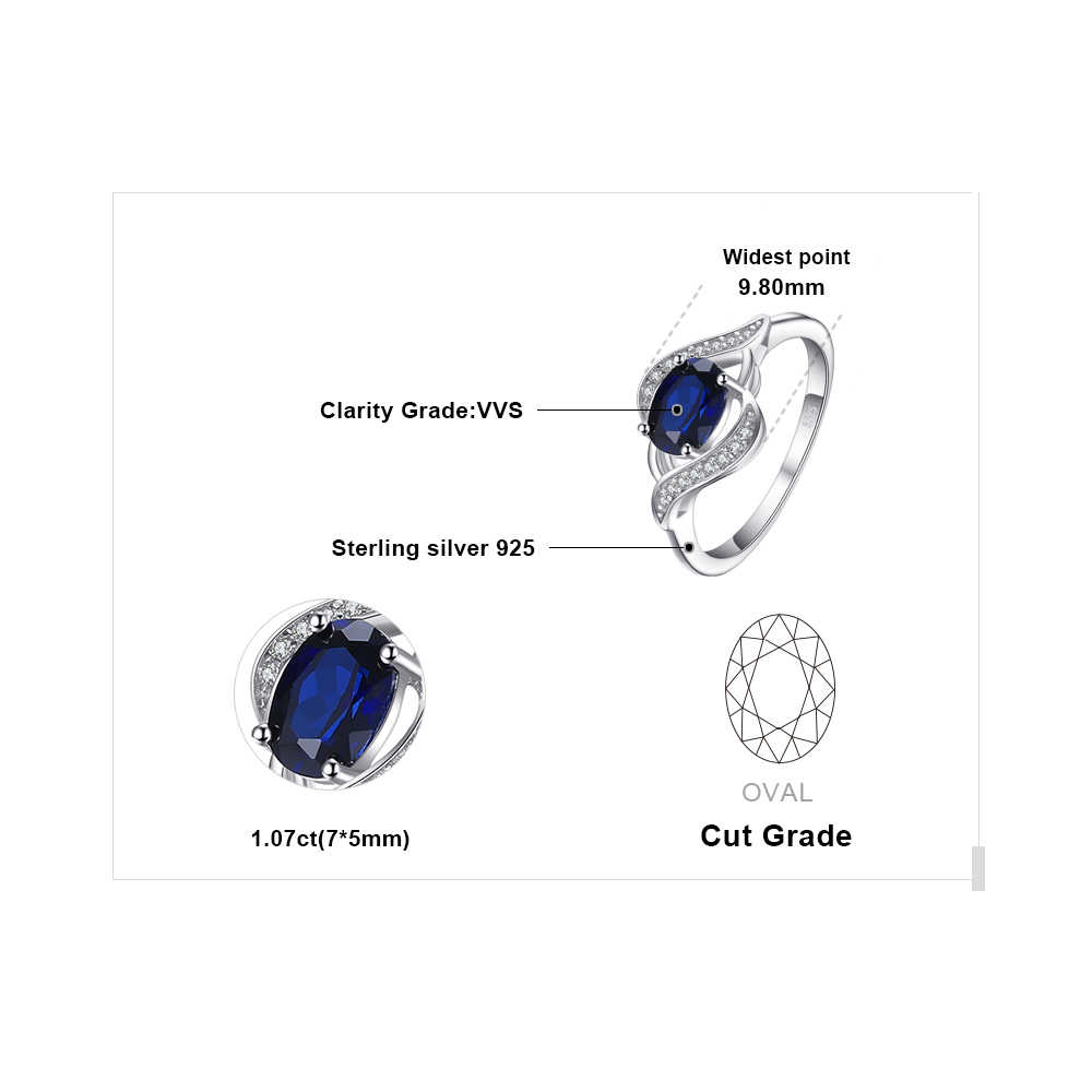 JewelryPalace 1.1ct สร้าง Blue Sapphire Statement Halo แหวน 925 แหวนเงินแท้เครื่องประดับอัญมณีสำหรับผู้หญิง