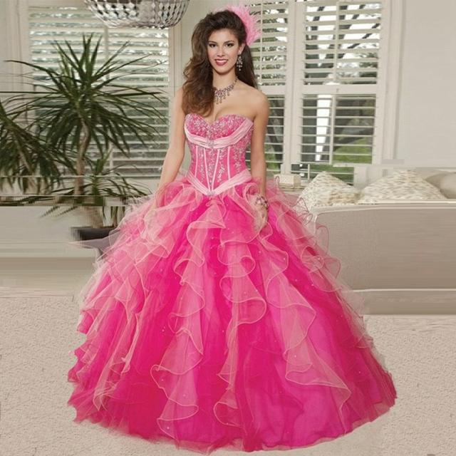 Vestidos Quinceanera Vestido de Debutante Vestidos de 15 Años Rosa Doce 16 Dresses 15 Anos Ruffles Azul Royal Vestidos Quinceanera