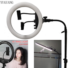Photo Studio 14 Ring Light 24W 3200-5500K Stepless adjusted Lighting Lamp Photographic Light for youtube with Iron Pipe Tripod capsaver 2 in 1 kit led video light studio photo led panel photographic lighting with tripod bag battery 600 led 5500k cri 95