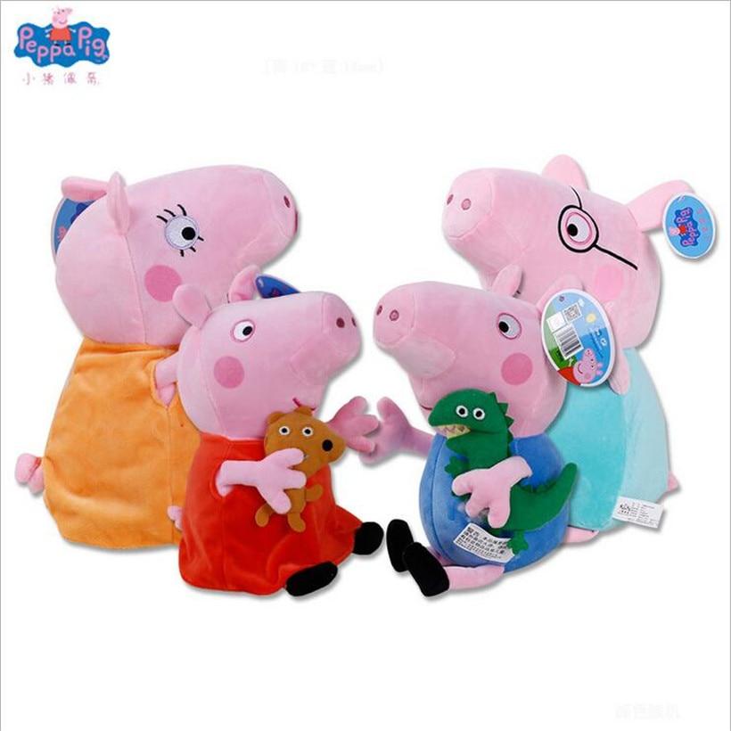 Fashion Peppa Pig George Dad Mom Family Original Purse Animal Stuffed Doll Plush Toys Children Gifts