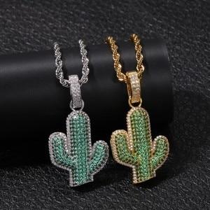 Image 2 - UWIN pendentifs en forme de Cactus en zircone cubique glacé, collier de plante hip hop à la mode, couleur or pour hommes
