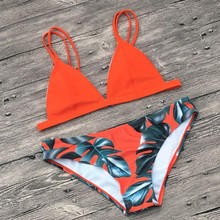 2018 Newest Brazilian Bikini Set Swimwear Women Swimsuit Bathing Suit Cami Palm Leaf Print Biquini Swim Suit Maillot De Bain
