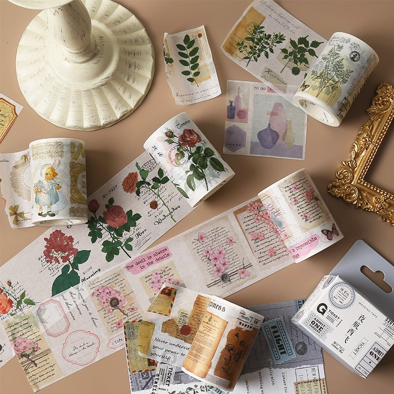 Romantic Plants Flowers Poetry Washi Tape Diy Decorative Scrapbooking Masking Tape Adhesive Label Sticker Tape Stationery