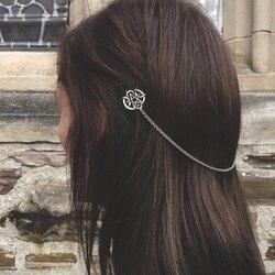 Celtics Knot akcesoria do włosów Norse szpilka do włosów Viking klips do włosów dla kobiet długowłosy Decorat do włosów ze stali nierdzewnej łańcuch