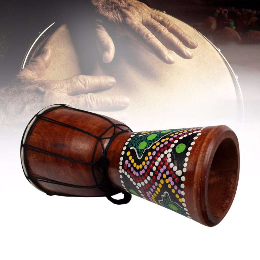 4/6 Inch African Djembe Percussion Hand Drum Mahogany Wooden Jambe Doumbek Drummer with Pattern Pure Goat Skin Surface