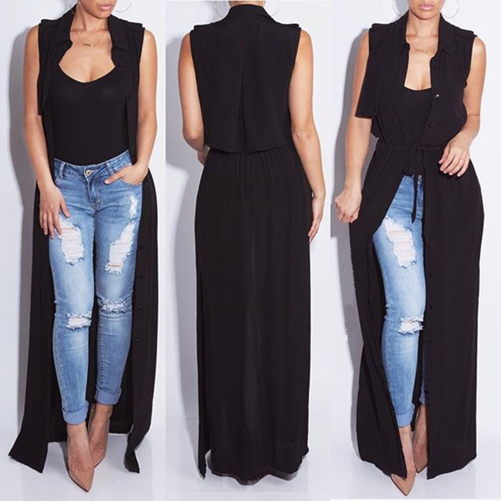 2018 New Fashion Sleeveless   Trench   Coat Balck Wine Chiffon Duster For Women Overcoat Outwear Causal Robe Long Plus Size   Trench