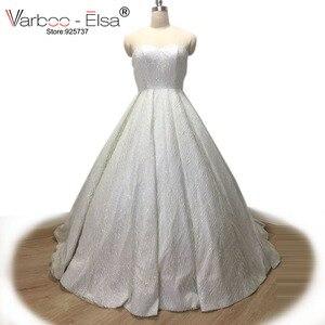 Image 1 - VARBOO_ELSA 2018 Liebsten Ärmellose Abendkleid Weiß Pailletten Sparkly Prom Kleid Luxus Ballkleid Benutzerdefinierte vestido de festa
