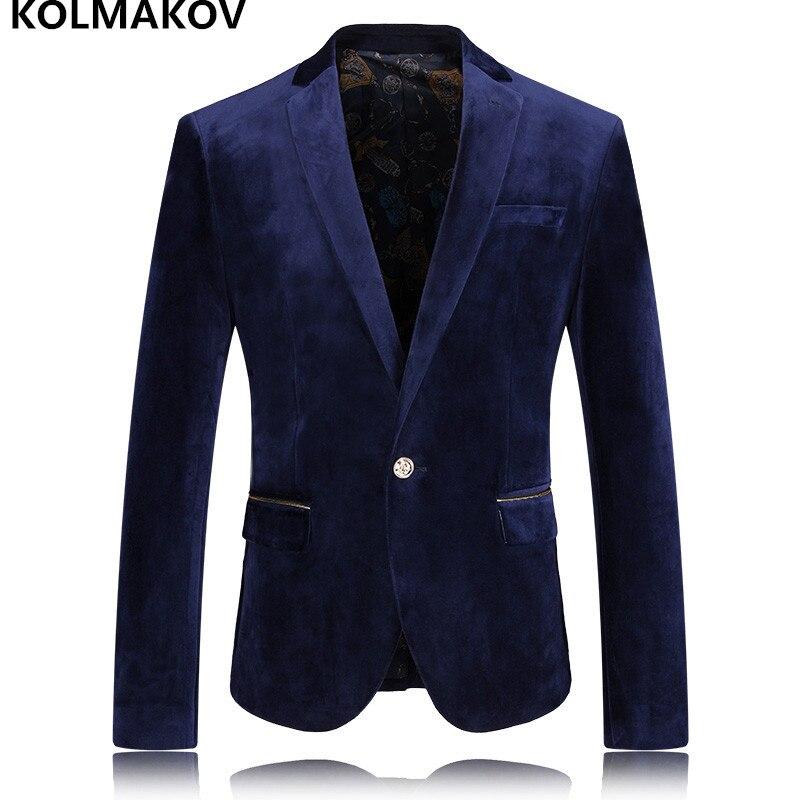 2019 New Mens Blazers Gentlemen High Quality Velvet Blazer Smooth Men's Coats Business Casual Suits Jackets Men Plus Size M 3XL