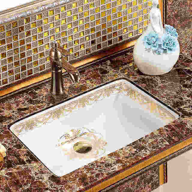 Chinese Ceramic Oval Undercounter Bathroom Sink Art Basin With Overflow Wash