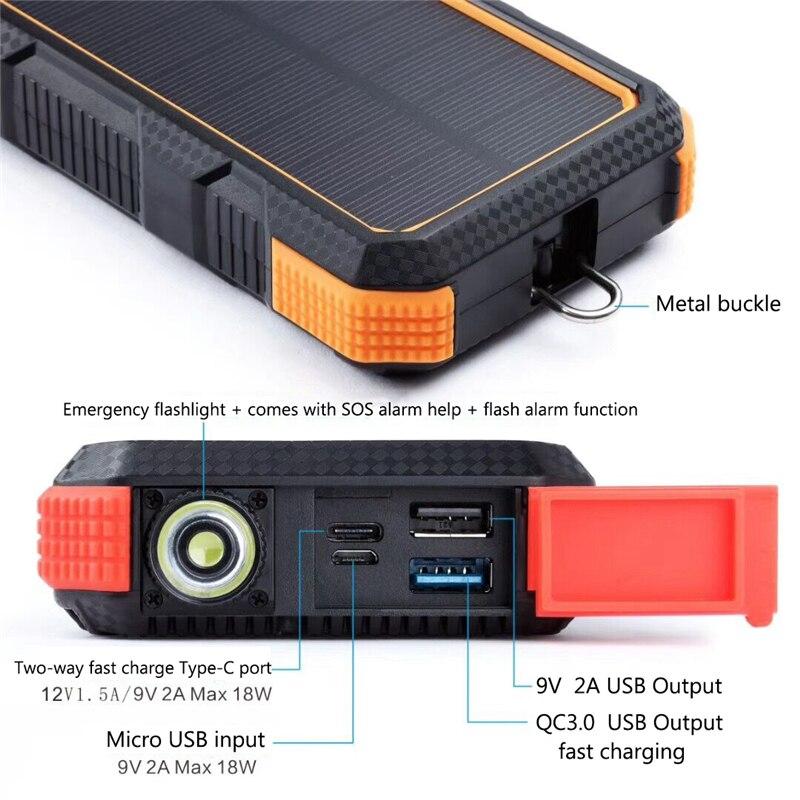 Chargeur Portable sans fil QI 25000mAh batterie Portable solaire pour iPhone Samsung Huawei Type C PD + QC3.0 chargeur rapide USB Powerbank