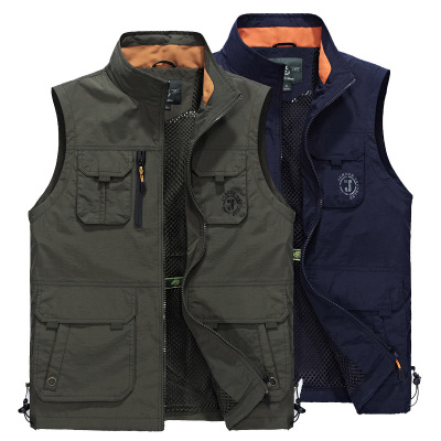 Sleeveless Vest Men Summer Breathable Waistcoat Fashion Multipockets Men Vest Waterproof Photographer Vest Colete Masculino