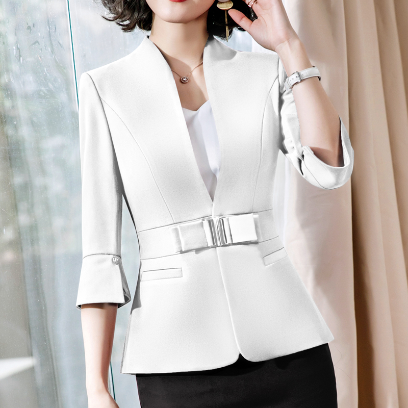 Spring Autumn Women White Black Office Lady Blazer Fashion  Sashes Split Half Sleeve Jackets Elegant Work Blazers Feminino