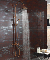 Free Ship Rose Gold Clour Waterfall Rainfall Shower Tub Faucet Mixer Tap With Handshower