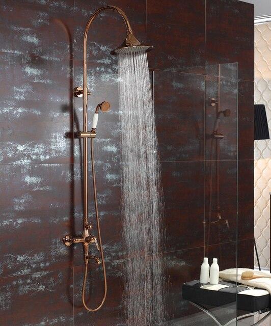 freies schiff rose gold clour wasserfall regendusche badewanne wasserhahn mischbatterie mit handbrause - Wasserfall Regendusche