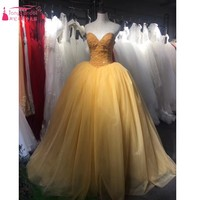 Gold Prom Dresses 2017 Real Photos Full Beads Sweetheart Red Formal Ball Gown Evening Dress Chinese