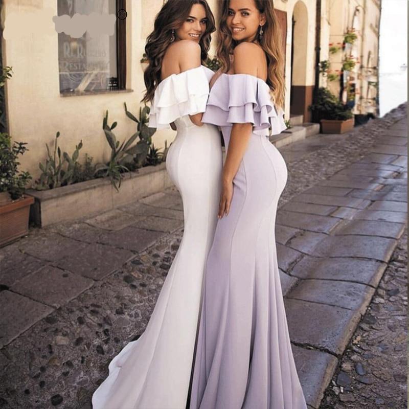 Verngo Robe De soirée Sexy sirène 2019 Robe formelle longue col bateau Robe De soirée Robe longue blanche