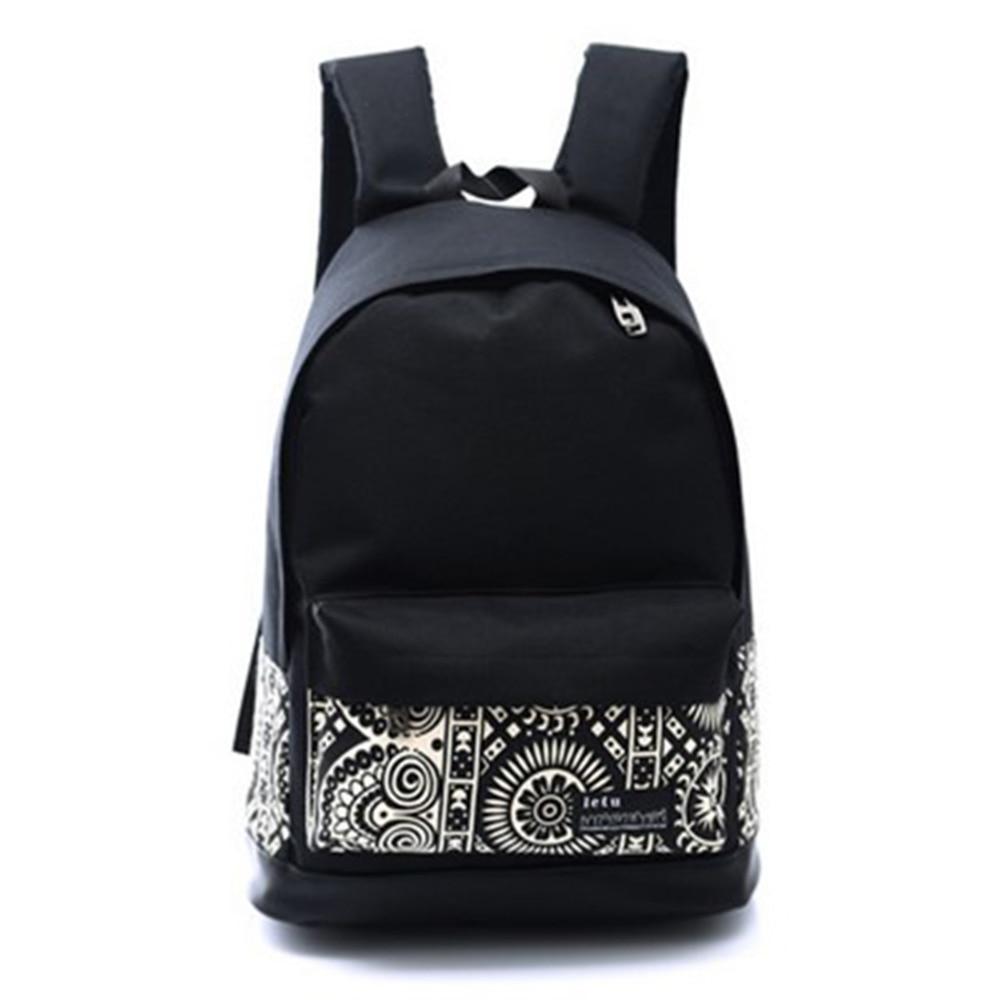 Women Men Canvas Geometric Flower Casual Travel Backpack School Bag Rucksack Schoolbags For girl Boy Teenagers 2016 Hot Sale